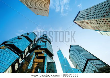 Hong Kong,China - January, 26, 2015: Low angle view of skyscrapers in Hong kong.