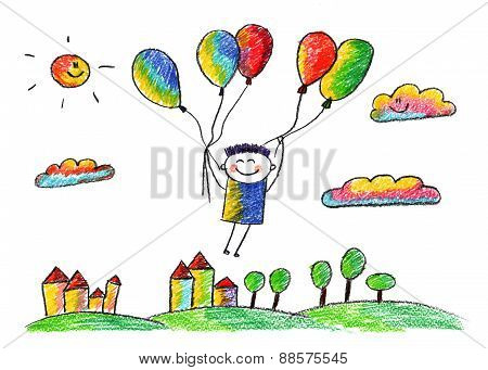 Happy boy fly with ballons.