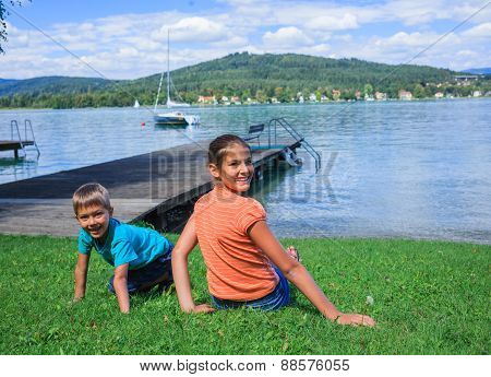 Kids at the lake