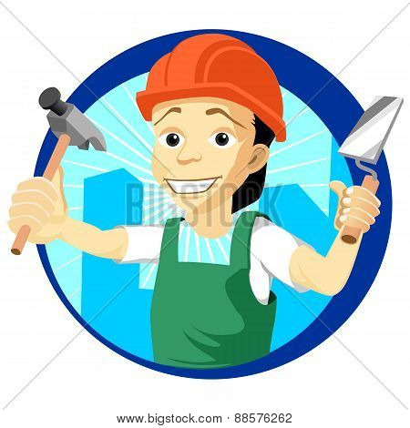 Cheerful plasterer with a trowel and hammer