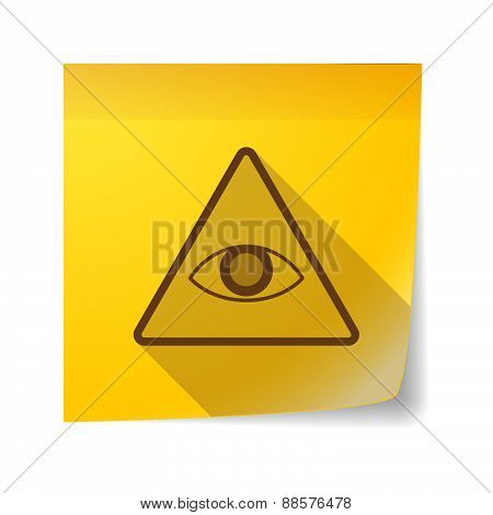 Sticky Note Icon With An All Seeing Eye