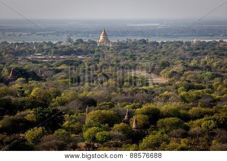 View over Bagan and Shwezigon Pagoda
