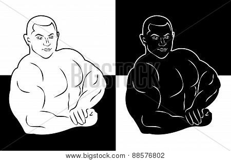 muscle man bodybuilder vector illustration icon