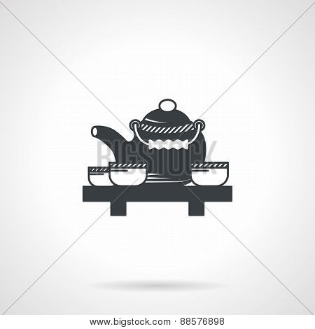 Tea ceremony black vector icon