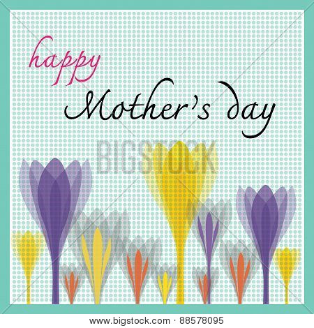 Happy Mothers Day With Tulip And Dot Pattern