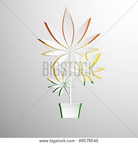 symbol of marijuana cut white paper
