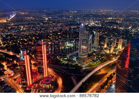 Aerial view at night, Istanbul, Turkey