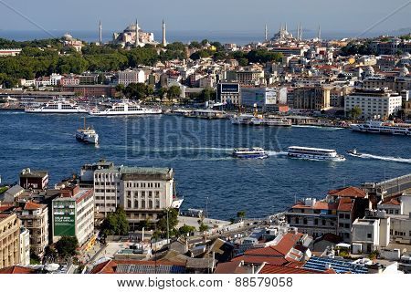 View towards Blu Mosque from the Galata Tower,  Istanbul, Turkey.
