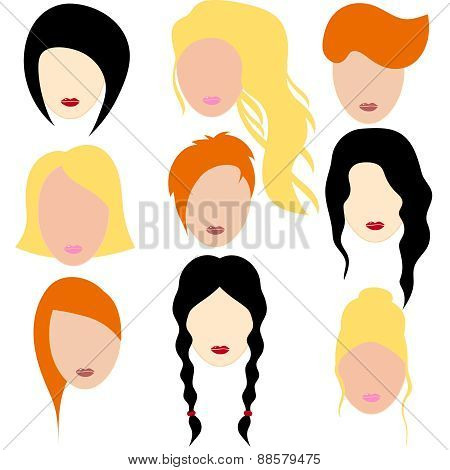 Vector Illustration Of A Beautiful Girls With Black, Red And Blonde Hair