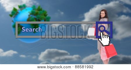 Elegant brown hair posing with shopping bags against sky and clouds