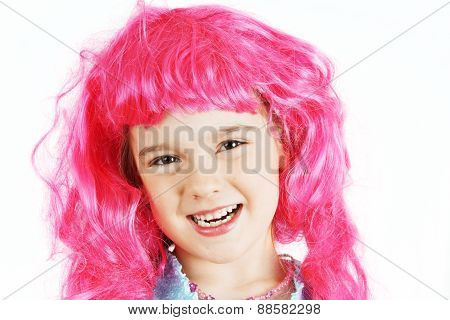 Little Girl With Pink Wig