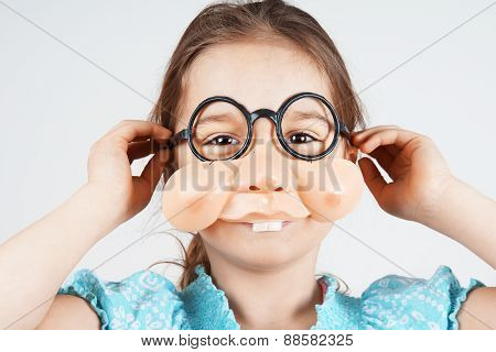 Little Girl With Fake Nose Glasses