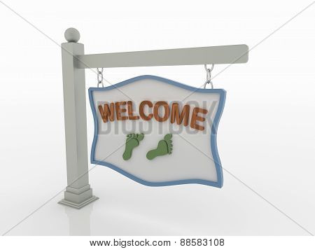 Welcome Signboard On Post With Chains On White Background