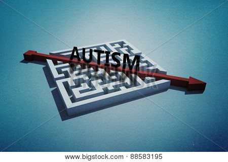 autism against red arrow cutting through puzzle
