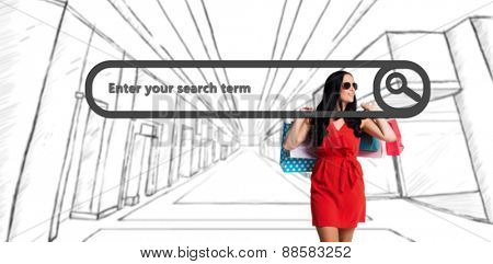 Woman standing with shopping bags against search engine
