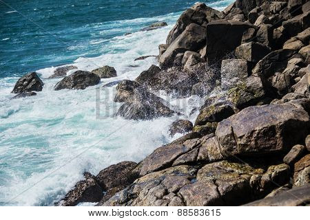 Water Breaker On Stones, Rocks