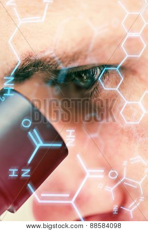 Science and medical graphic against extreme close up of a scientific researcher using microscope