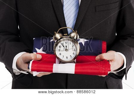 American Flag And Clock