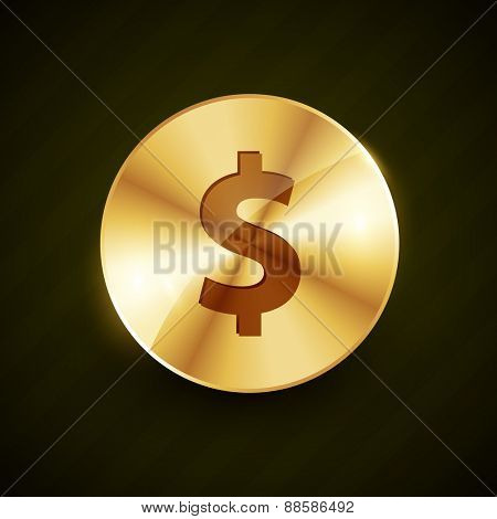 dollar symbol engraved on golden coin vector illustration design