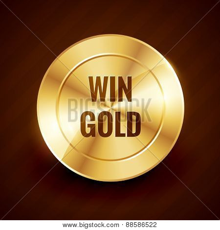 win gold label beautiful vector design illustration
