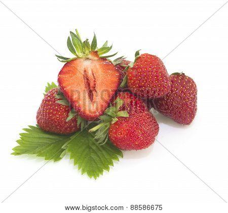 Fresh strawberries on white