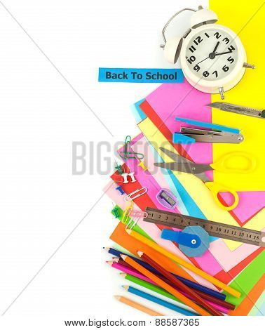 Top View Of Stationery Set On White Background