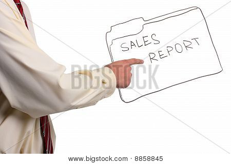 Man Pointing To A Folder