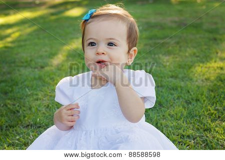Cute Happy Little Baby Girl Scratching First Teeth