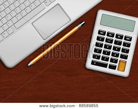 Laptop, Calculator And Pencil Lying On Wooden Desk In Office