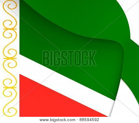 Flag Of Chechen Republic, Russia.