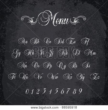 Vector Illustration Of Chalked Alphabet.