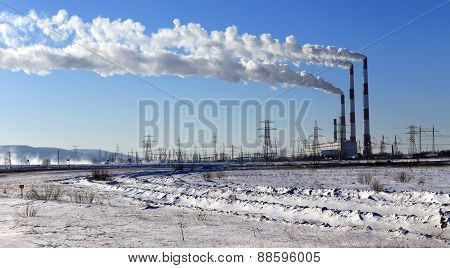 Hydroelectric Power Plant In Winter