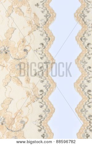 Beige Lace With Flowers