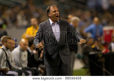 CARSON, CA. - APR 18: Bruce Arena during the L.A. Galaxy game against Sporting Kansas City on April 18, 2015 at the StubHub Center in Carson, California.