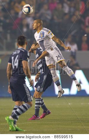 CARSON, CA. - APR 18: Rafael Garcia in action during the L.A. Galaxy game against Sporting Kansas City on April 18, 2015 at the StubHub Center in Carson, California.