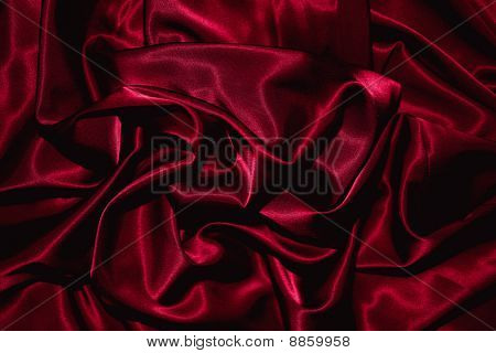 Texture Of A Red Silk Closeup