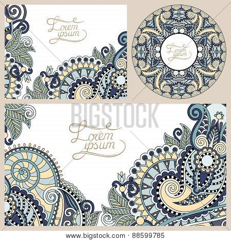 set of floral decorative background, template frame design