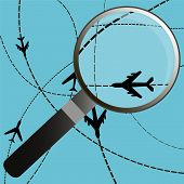 foto of prospectus  - Airplanes on their destination routes with magnifying glass Air travel - JPG