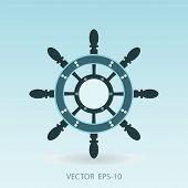 stock photo of ship steering wheel  - Vintage symbol of marine card with steering wheel - JPG