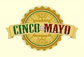 stock photo of mexican fiesta  - Cinco De Mayo Vector Illustration with Mayan inspired background - JPG
