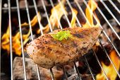 picture of flame-grilled  - Marinated grilled chicken on the flaming grill.