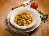 image of edible mushrooms  - orecchiette with cep edible mushroom - JPG
