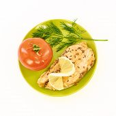 image of redfish  - Fish stew and fresh vegetables on a white background - JPG