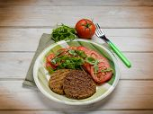 pic of hamburger-steak  - soy steak with arugula and tomatoes salad - JPG