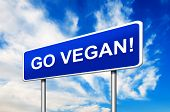 image of vegan  - Go Vegan Road Sign With Blue Sky in Background - JPG