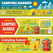 Постер, плакат: Summer camping mountain expedition adventures vector decorative banners set in flat style design