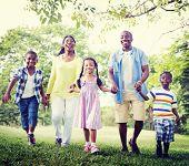 stock photo of bonding  - Family Bonding Happiness Park Outdoors Concept - JPG