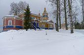 image of cloudy  - Transfiguration Church in Orthodox monastery - JPG