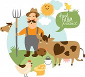 stock photo of animal husbandry  - vector illustration on a farming theme - JPG