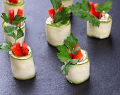 image of chinese parsley  - Cucumber spring rolls with soft cheese - JPG